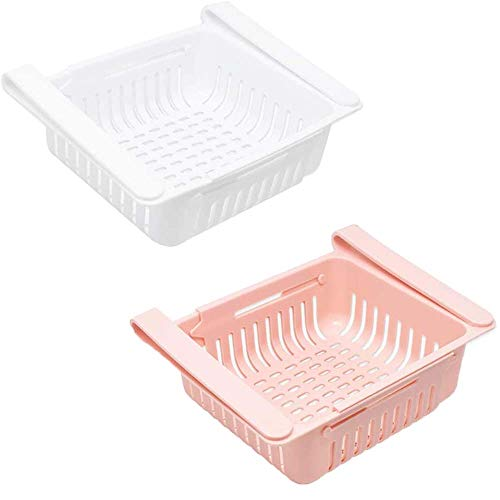 Organizador De CajóN RetráCtil Para Nevera - OLT-EU Ajustable Caja De Almacenamiento Del Refrigerador Organizador De Ahorro De Espacio Para Nevera (2pcs, Blanco + rosa)