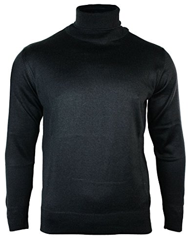 Pull homme sweat léger coupe slim à col roulé en laine mélangée gris noir bleu marine