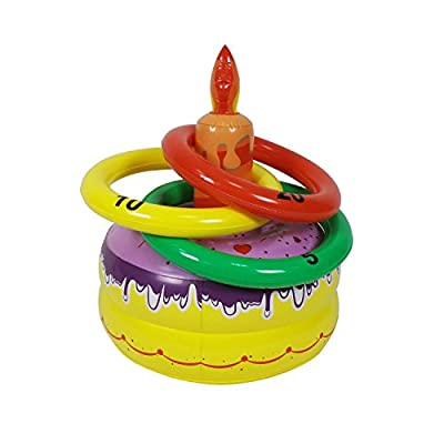 Cake Inflatable Birthday Cake Shaped Ring Toss Beach or Pool Toy, Great Game for Kids and Adults FUN-07