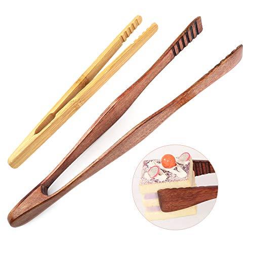 HC Toaster Zange Holz Pinzette Küche Gebäckzange 26cm Brotzange Holz Eine Zange Eignet Sich zum Grillen, Toasten, Kuchen, Salat