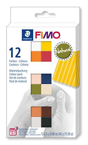 FIMO soft ofenhärtende Modelliermasse. Kartonetui mit 12 sortierten Natural-Farben.