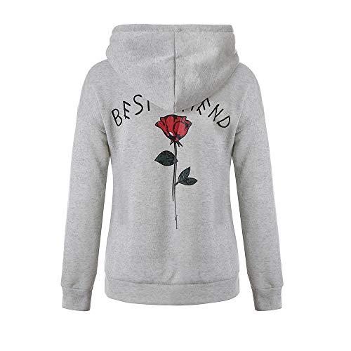 Lazzboy Best Friends Kapuzenpullover Damen Kapuzenpullis Hoodie Mädchen Pulli Rose Sweatshirt Sports Pullover (Grau,36)