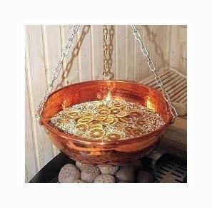 SudoreWell® Sauna Kupferschale/Kräuterschale (Unikat) aus Kupfer 10 l mit Kette
