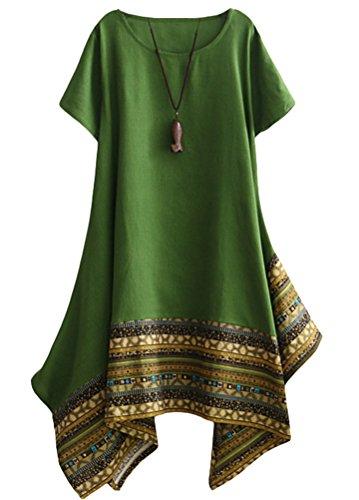Vogstyle Donna Estate Lino Cotone Manica Corta Maglietta Tops Shirt Vestito Verde XL