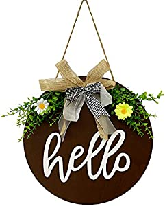LSKYTOP 12Inch Welcome Sign Hello Sign for Front Door Decor Wooden Hanging Sign with Daisy Flower and Eucalyptus Leave Farmhouse Wreath (Brown)