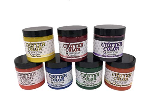 Warren London Critter Color - Temporary Pet Fur Coloring - All 7 Colors - 4 Oz Jars - Made in USA