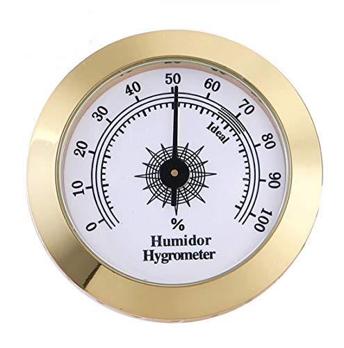 Cigar Hygrometer, Anync Round Hygrometer for Cigar Humidor, Cigar Box/Cigar Cabinet 2 inch Diameter Gold