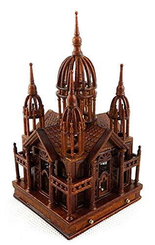 Melody Jane Dolls House Ornate Walnut Victorian Multi Birdcage with Bird JBM Miniature