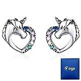 Qings Ohrringe Silber 925 Mädchen Ohrstecker Einhorn Herz mit Brillant Zirkonia Piercing Ohr...