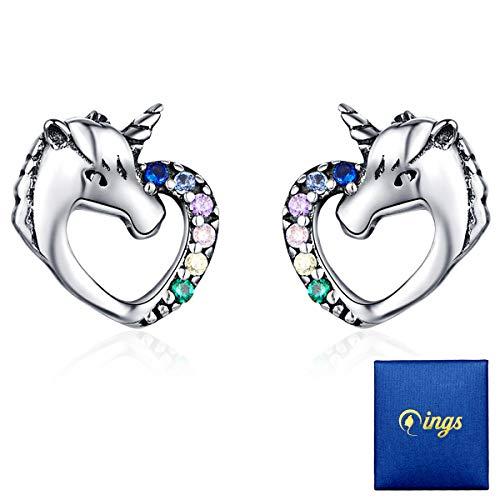 Qings Unicornio Pendientes Niña Plata de ley 925 con Circonita Pequeños Arete Piercings Rectos Oreja Hipoalergenicos