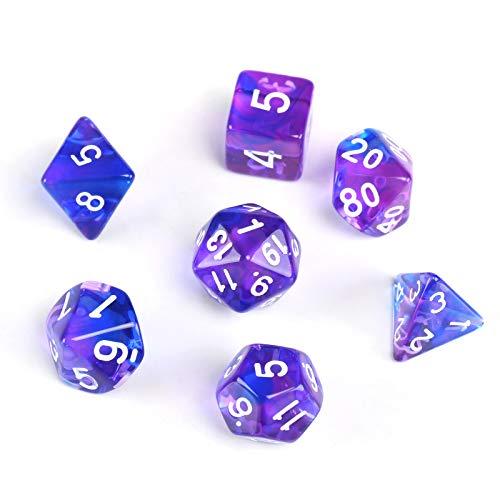 GWHOLE 7 Piezas Dados Poliédricos Dados para Juegos de rol y Mesa Dungeons y Dragons DND RPG MTG con Bolsa Negra (Transparente Púrpura)