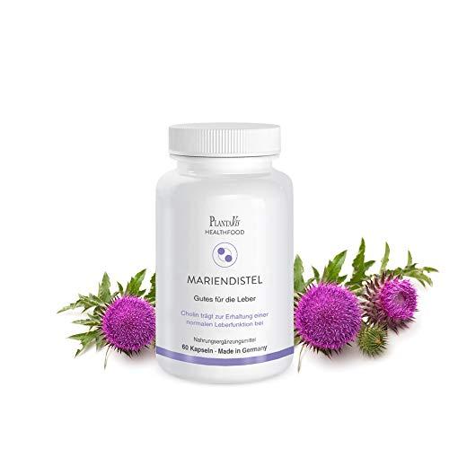 Mariendistel Kapseln | Gutes für die Leber | Ausleitung von Schadstoffen | Vitamine E und C | Monatspackung | 60 Kapseln | PlantaVis