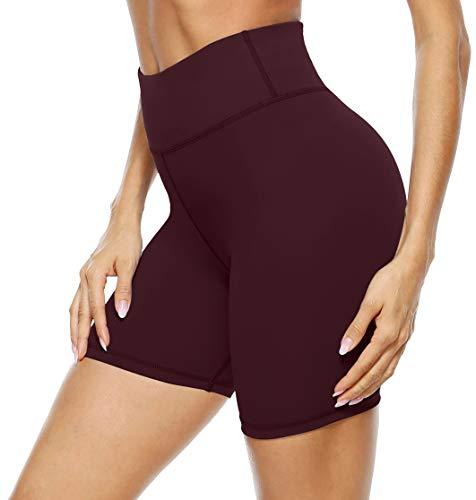 Persit Pantalones cortos de deporte para mujer, opacos, cintura alta, pantalones cortos de yoga con bolsillo oculto en los puños. borgoña 42-44