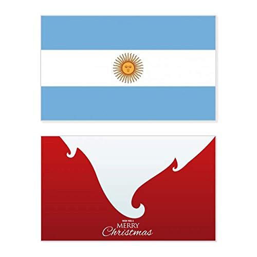 Argentinien Nationalflagge Südamerika Land Urlaub Merry Christmas Karte Weihnachten Vintage Nachricht