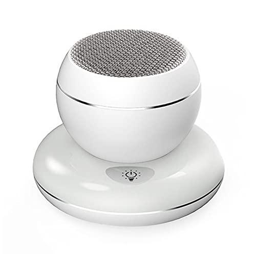 PULLEY Caja de reducción de ruido Bluetooth inalámbrica, subwoofer de escritorio portátil Mini altavoz incorporado micrófono con base luz nocturna colorida llamada manos libres (color: blanco)