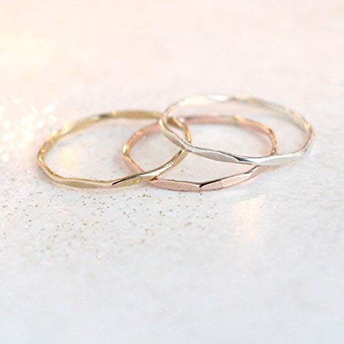 Rose Gold Hammered Stacking Sterling Silver Ring Light Gold Handmade Stacking ring Choice of Silver