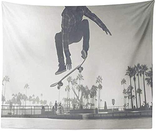 Yhjdcc Tapisserie Wandbehang Interior Dekorative Skater Boy Skate Park Skateboard Strand Trick f¨¹r Schlafzimmer Wohnzimmer Tischdecke Wohnheim 150cm x 200 cm