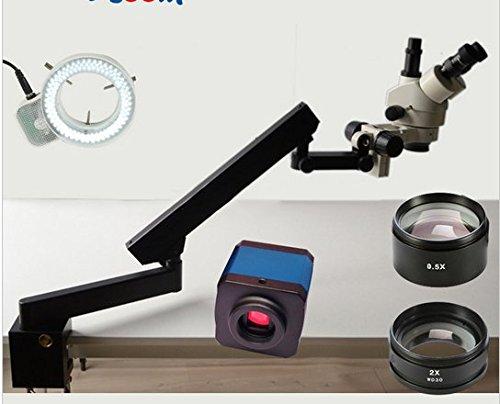 GOWE 3.5X-90X Trinocular Articulating Arm Pillar Clamp 144-LED Stereo Zoom Microscope+14MP HDMI Microscope Camera