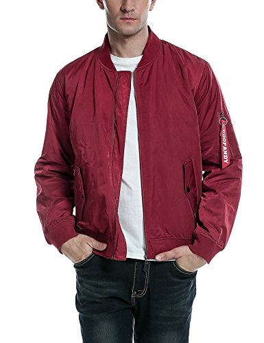 COOFANDY Mens Casual Zip Up Hoodie Jacket Shiny Metallic Bomber Nightclub Party Baseball Coat (Medium, 01-Wine Red)