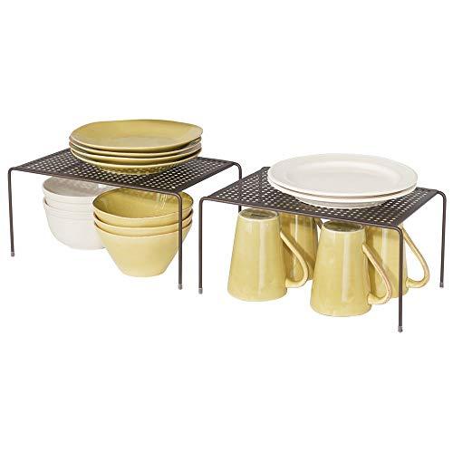 mDesign Set da 2 Mensole porta piatti impilabili per la cucina – Ripiano angolare antiscivolo in metallo – Piccolo scolapiatti da appoggio per tazzine e utensili – bronzo
