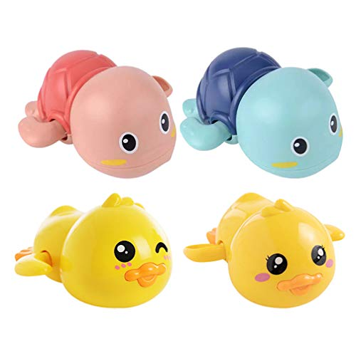 Gadpiparty 4 Pcs Baby Bath Toy Floating Shower Water Playing Toy Cartoon Duck Turtle Pool Water Toy Bathroom Toy Yellow Red Blue