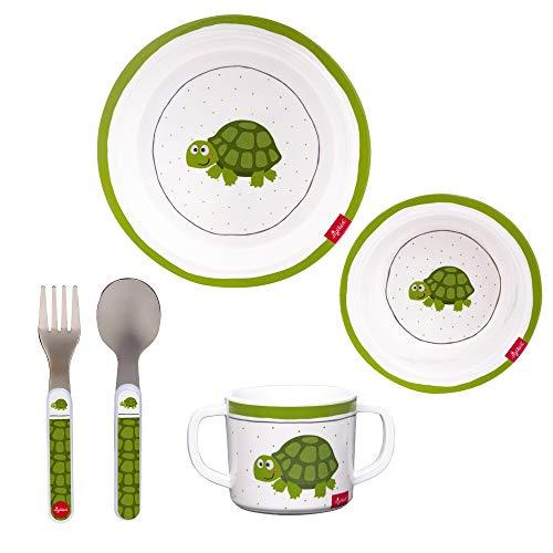 SIGIKID Mädchen und Jungen, 5tlg. Melamin-Set Kindereschirr Schildkröte, BPA-frei, empfohlen ab 24 Monaten, weiß/grün, 25081