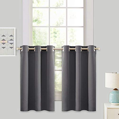 RYB HOME Grey Blackout Valances Curtain Panels - Thermal Insulated Curtains Tier Short Blind for Kitchen / Living Room Energy Efficient Including 6 Grommets, W 42 x L 36 / Each Panel, Gray, Set of 2