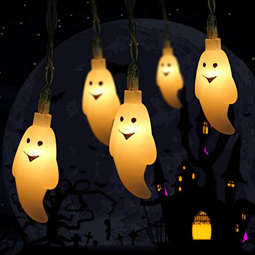 WowTowel Ghost String Lights 10.8ft 30 LED Battery Powered Waterproof Cute Lights Halloween Ghost Light for Outdoor and Indoor Decor, 2 Modes Steady/Flash Lights for Christmas Party Decorations