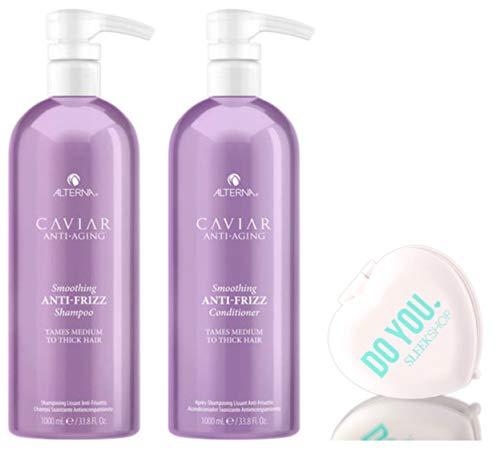 Caviar Anti Aging Anti Frizz Alterna Caviar Anti-âge Anti-Frizz Shampooing et revitalisant Duo Set Pour Medium To cheveux épais (avec Sleek Mirror Compact) (33,8 oz / 1000 ml - Kit Grand litre Duo)