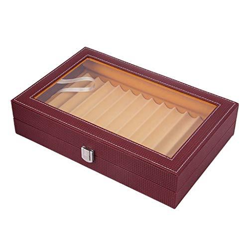 chiwanji Stiftebox Stiftekasten Stifthalterbox Stiftablage 2 Ebenen Aufbewahrungsbox Leder-Schachtel - Weinrot