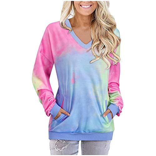 Blusas para mujer con estampado floral casual y con cuello en V y manga larga con 2 bolsillos, rosa A, XL