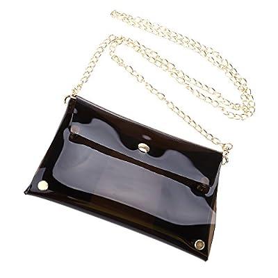LUOEM Clear PVC Cross Body Bag Clutch Messenger Handbag Tote Shoulder Bag