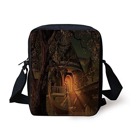 FAFANIQ Fantasy,Enchanted View with Elven Boat Floral Tree Fairytale Night Design,Cinnamon Brown Sage Green Print Kids Crossbody Messenger Bag Purse