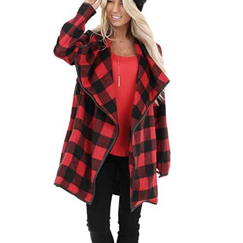 KEERADS Damen Cardigan Strickjacke, Langer Wollmantel Lässig Roter Wintermantel mit Schottenmuster Fashion Street Jacket Wind Jacket