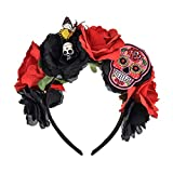 Vividsun Day of The Dead Flower Crown Rose Floral Crown Halloween Party Costume (Small Skull/red Black)