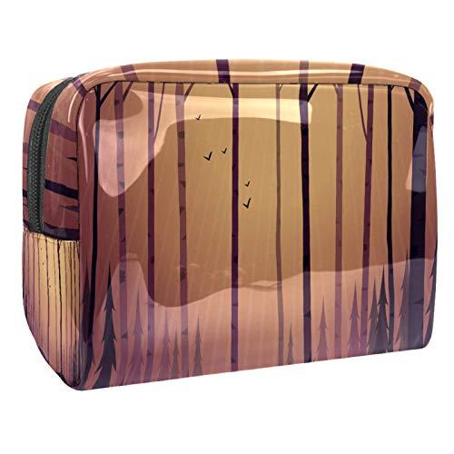 Bolsa de Lavar Pájaros del árbol del Bosque Bolso de Tocador Hombre Neceseres para Maquillaje PVC Bolsa de Cosméticos Impermeable Bolsa de Lavado Viaje 18.5x7.5x13cm