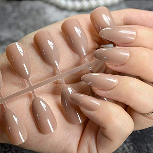 JSIYU Faux ongles Oval Solid Fake Nails Stiletto Full Cover Pointed Pure Color Design False Nail Wear Tips, F134 D