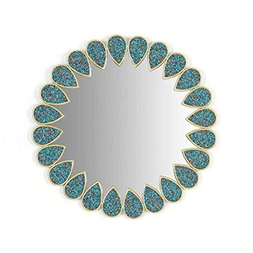 Espejo de Pared Decorativo Creativo lámpara de Espejo de Pared Redonda Espejo de Arte Decorativo para el hogar de Metal de 20 Pulgadas Adecuado para la Pared de Fondo de TV de la Puerta misteriosa