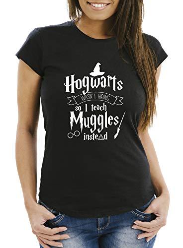 MoonWorks® Damen T-Shirt Hogwarts Wasn\'t Hiring so I Teach Muggles Instead Lehrerin Spruch Fun-Shirt Slim Fit schwarz M