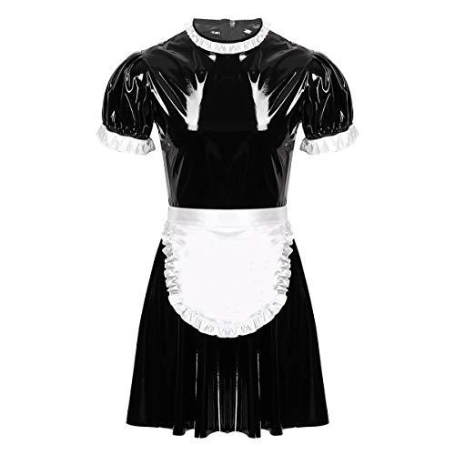 FEESHOW Herren Männer Wetlook Dienstmädchen Dessous Kostüm Kleid Und Schürzen Sissy Maid Rollenspiele Outfit Reizwäsche Schwarz XL