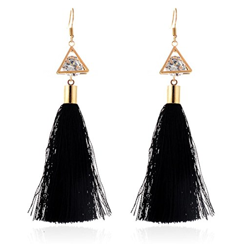 Pendientes Borla Mujer Pendientes Largos, FAMILIZO Estilo vintage Rhinestones Crystal Tassel Dangle Stud Pendientes de joyería de moda (Negro)