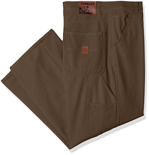 Stanley Men's Workwear Big Size Micro Fleece Lined Canvas Carpenter Pant, Coffee, 38X34