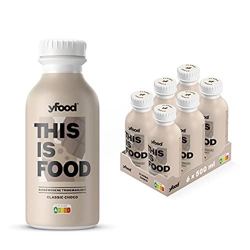 yfood Schokolade | Leckere Trinkmahlzeit für unterwegs | THIS IS FOOD Drink | 34g Protein, 26 Vitamine und Mineralstoffe (6 x 500ml)