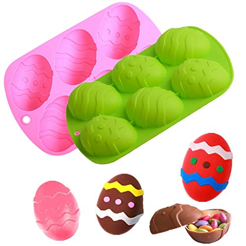 Easter Chocolate Molds 3D Dinosaur Egg Shape & Rabbit Bunny Cake Baking Mold DIY Non-Stick Chocolate Mold for Easter Handmade Soap Pastry Cake Dessert Decoration (Egg-2PC A)