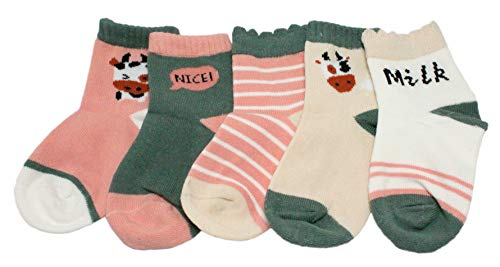 Colourful Baby World Lot de 5 paires de chaussettes pour bébé fille Pêche/rose/vert à rayures animales Moo Moo - Rose - Small