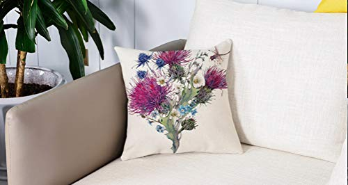 Luoquan Pillowcase Decorative bedroom Home sofa Waist Chair cushion cover,Dragonfly,Summer Natural Meadow Herbs Bouquet Wild Thistles Chamomiles Waterco,Office Bar Car Decor 18x18 Inch/45x45 cm