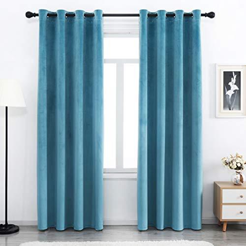 SPXTEX Turquoise Blue Velvet Curtains 84 inches Long Super Soft Velvet Textured Curtains Thermal Velvet Curtains Grommet Window Treatment for Bedroom Light Blocking Velvet Curtain 2 Panels