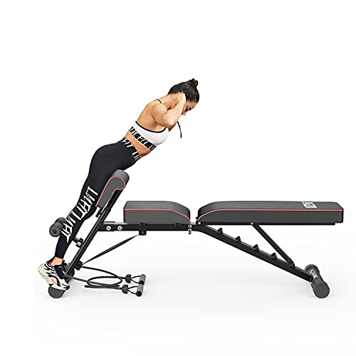 bigzzia Weight Bench 61'', Adjustable Strength Training Bench for Full Body...