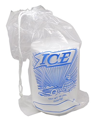 12 X 19' 1.35 Mil Clear Plastic Ice Bag with Drawstring Closure - Printed (500 Bags) - Elkay Plastics H19PDS