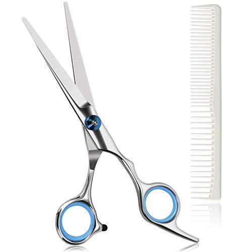 Haarschere, Rostfreie Extra scharfe Friseurschere, Bartschere mit präzisem Schnitt, Perfekter Haarschnitt für Kinder, Damen und Herren - Mit Kamm